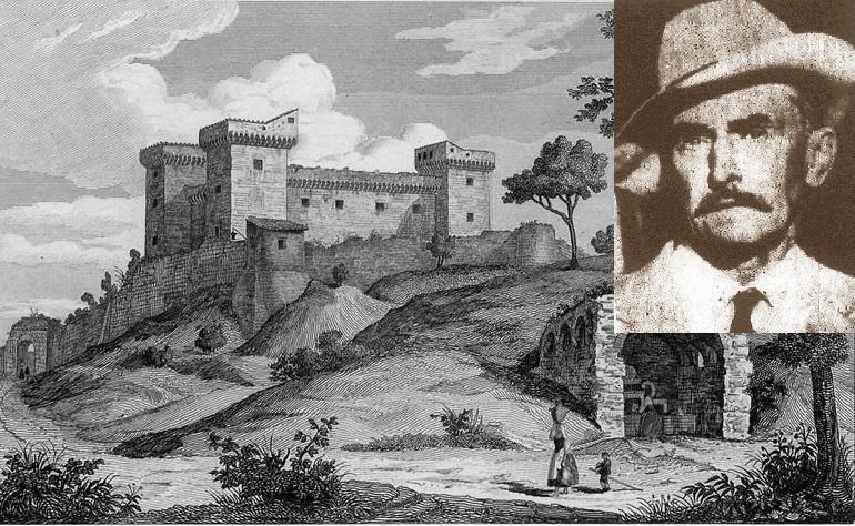 La Rocca di Narni in un'antica stampa. Nel riquadro Wassili D'Angiò