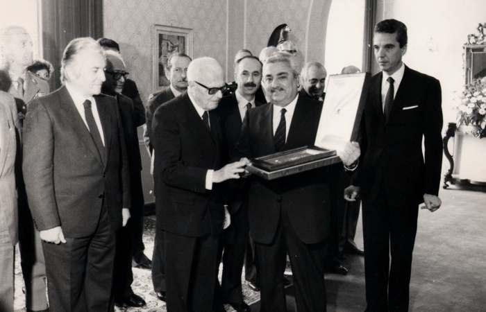 Pertini col presidente della provincia di Terni Bruno Capponi e i parlamentari umbrii Radi e Giustinelli