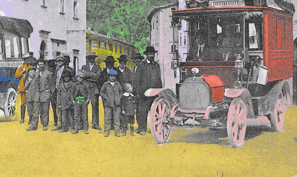 L'arrivo di un gruppo di turisti a Cascia alla fine del 1800