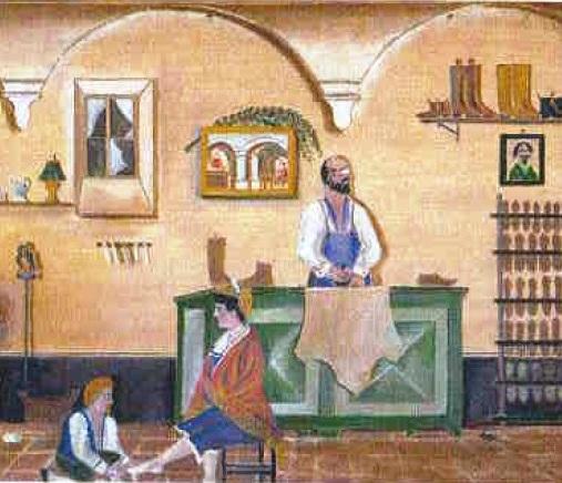 Orneore Metelli, La bottega del calzolaio (part.)